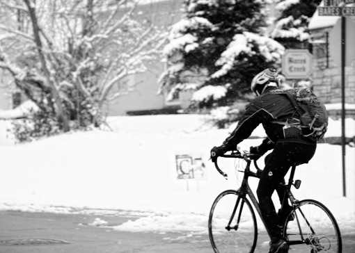 _DSC6586_v1 biker in the snow BW