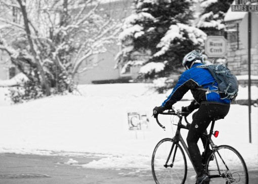 _DSC6586_v1 biker in the snow selective color